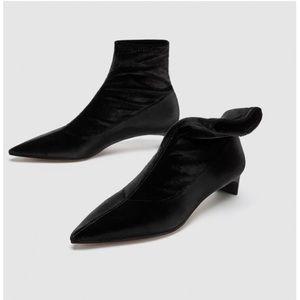 Black Velvet Kitten Heel Booties